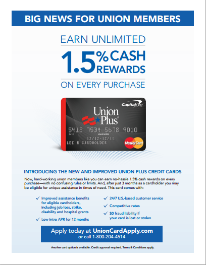 Union Plus Benefits >> Member Benefits Spotlight The Aft Union Plus Credit Card